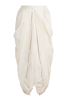 Off White Embroidered Dhoti Style Pants by Gulabo by Abu Sandeep