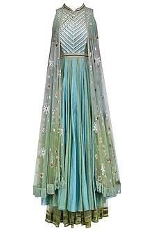 Jade Green and Powder Blue Two Tone Attached Wings Anarkali Set
