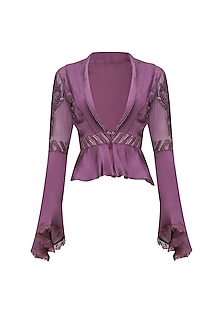 Mauve 3D Floral Embroidered Flared Sleeves Shirt with Grey Drape Pants