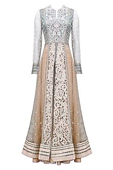 Powder Blue 3D Resham Embroidered Front Open Anarkali with Sharara Pants