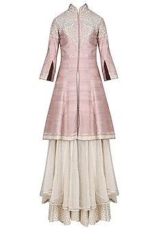 Old Rose 3D Resham Work Kurta with Trail and Sharara Pants Set