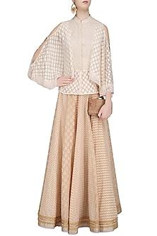 Ivory and Beige Chanderi Jacquard Cape Shirt and Lehenga Skirt Set by Shashank Arya
