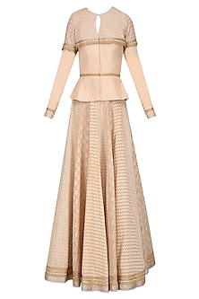 Beige Chanderi Brocade Peplum Top and Lehenga Skirt Set