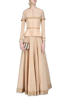 Beige Chanderi Brocade Peplum Top and Lehenga Skirt Set by Shashank Arya