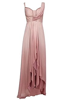 Peach and Old Rose Ombre Dyed Kurta and Palazzo Pants Set