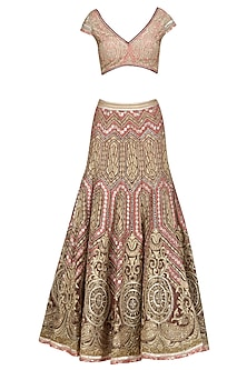 Peach and Gold Tissue, Dabka and Gota Patti Embroidered Lehenga Set