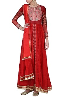 Red Embroidered Anarkali Set by Shashank Arya