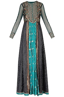 Dark Blue Embroidered Kurta Set