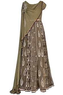 Olive Green Anarkali Set