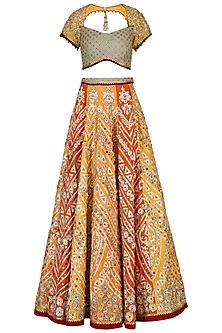 Orange Embroidered Lehenga Set by Shashank Arya