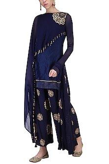 Dark Blue Embroidered Kurta with Pants by Shashank Arya