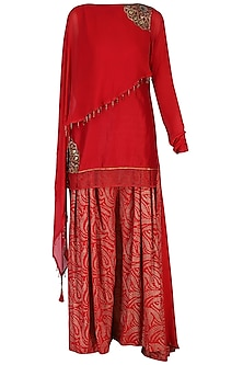 Red Embroidered Kurta with Pants