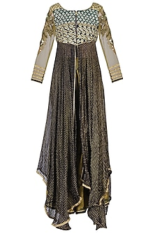 Dark Blue Embroidered Sharara Set