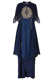 Dark Blue Embroidered Kurta with Pants