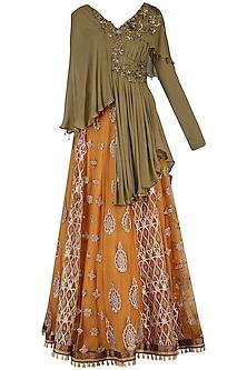 Mustard embroidered lehenga skirt with top by SHASHANK ARYA