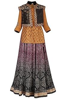 Black embroidered lehenga skirt with shirt