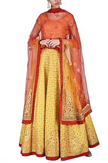 Lemon yellow embroidered lehenga set by SHASHANK ARYA