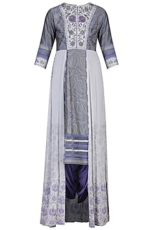Grey printed embroidered kurta set