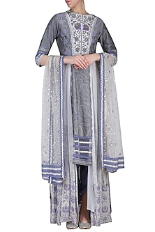 Grey printed embroidered kurta set by SHASHANK ARYA