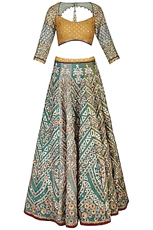 Green embroidered lehenga set by SHASHANK ARYA