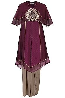 Wine embroidered kurta and drape pants