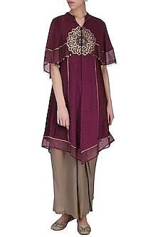 Wine embroidered kurta and drape pants by SHASHANK ARYA