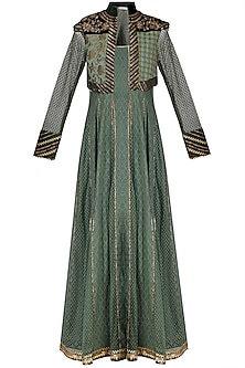 Green embroidered anarkali with pants