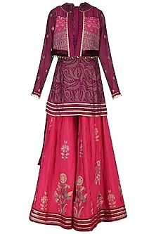Wine embroidered kurta with sharara pants and jacket