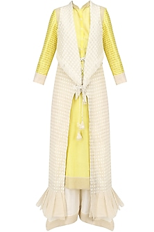 Lemon Chandeir Kurta, Pants and Jacket Set
