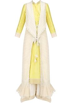 Lemon Chandeir Kurta, Pants and Jacket Set by Shashank Arya