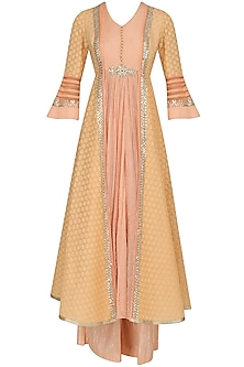 Peach and Pale Yellow Striped Kalidaar Kurta and Pants Set