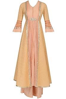 Peach and Pale Yellow Striped Kalidaar Kurta and Pants Set by Shashank Arya