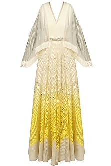 Ivory and Lemon Shaded Chanderi Anarkali Kurta