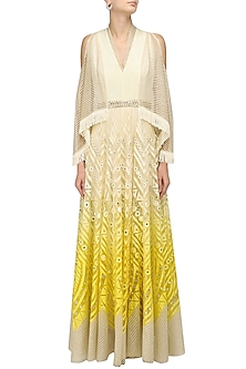 Ivory and Lemon Shaded Chanderi Anarkali Kurta by Shashank Arya