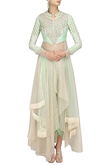Mint Green Asymmetrical Kurta and Dhoti Pants Set by Shashank Arya