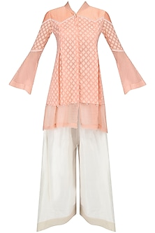 Peach Layered Tunic and Asymmetric Pants Set