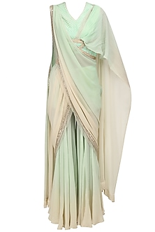 Mint Green Pant Saree and Blouse Set