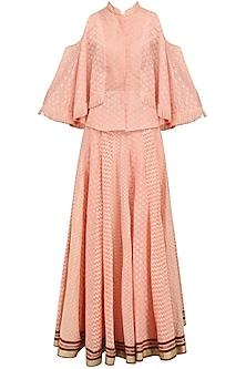 Peach Chanderi Brocade Lehenga Skirt and Cape Style Tunic Set by Shashank Arya