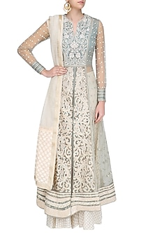 Powder Blue and Ivory Embroidered Front Open Anarkali Set by Shashank Arya
