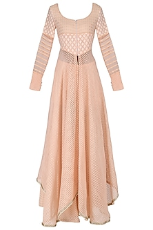 Peach Chanderi Brocade Kurta and Sharara Pants Set