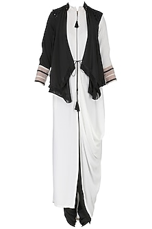 White Front Open Cowl Kurta with Embroidered Drape Gilet Set
