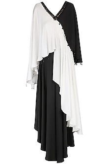 White and Black Asymmetrical Kurta with Flared Pants