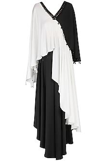 White and Black Asymmetrical Kurta with Flared Pants  by Shashank Arya