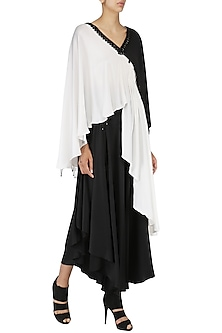 White and Black Asymmetrical Kurta with Flared Pants  by Shashank Arya