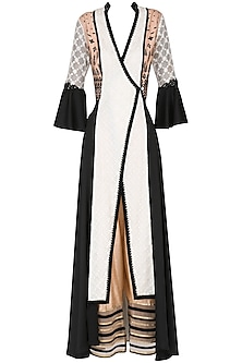 White and Black Color- Blocked Angrakha Kurta with Pants Set