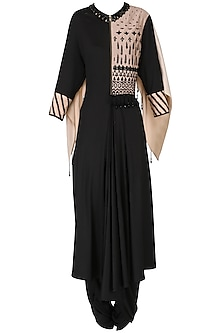 Black Front Pleated Kurta with Attached Wings and Pants Set