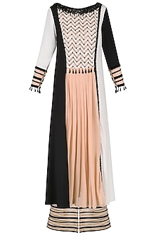 Black and White Color- Blocked Kurta with Pants Set by Shashank Arya