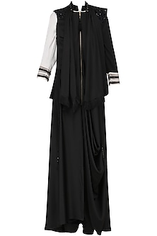 Black Front Open Cowl Kurta with Draped Gilet