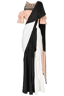 Black And White Saree with Ruffle Blouse Set