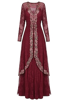 Wine Floral Embroidered Two Layered Gown